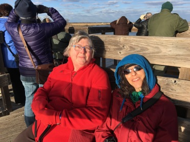 Kat Greene and Suzanne Richman during a cold sunset watch